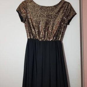 Gold and Black V Back Dress